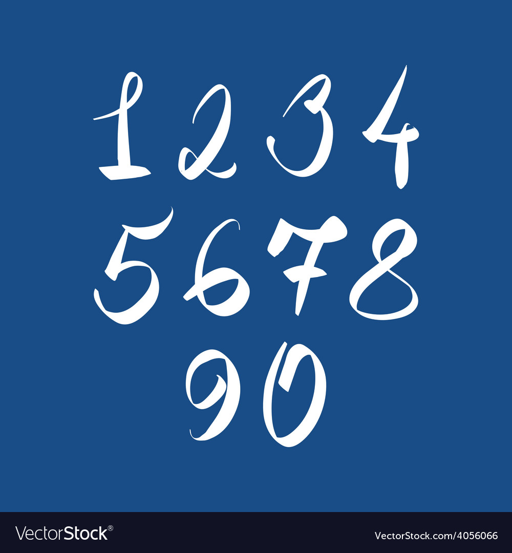 Handwritten numbers modern numbers set vector | Price: 1 Credit (USD $1)