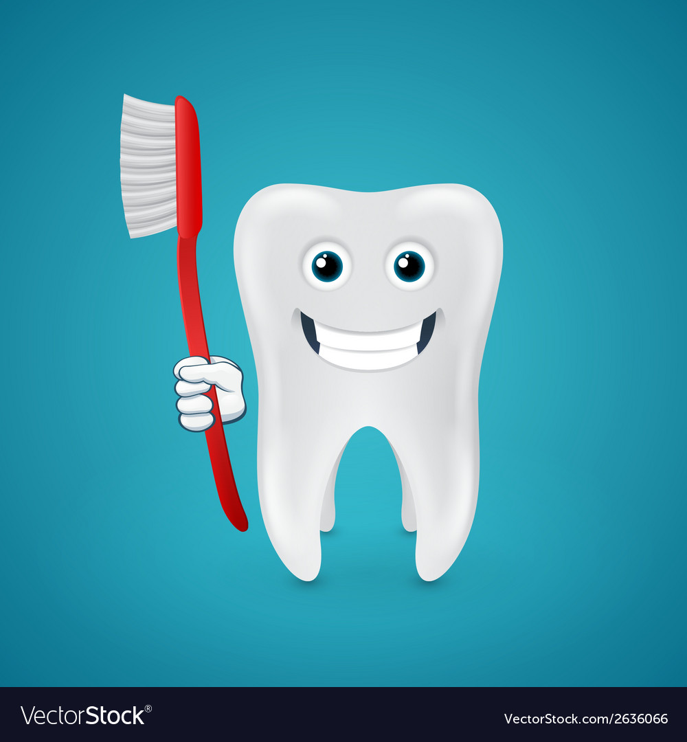 Happy tooth with red toothbrush vector | Price: 1 Credit (USD $1)