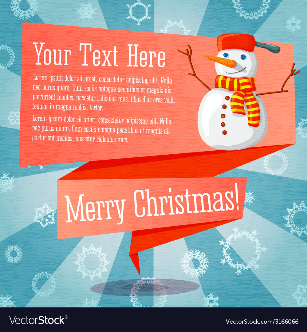 Merry christmas cute retro banner on the craft vector | Price: 1 Credit (USD $1)
