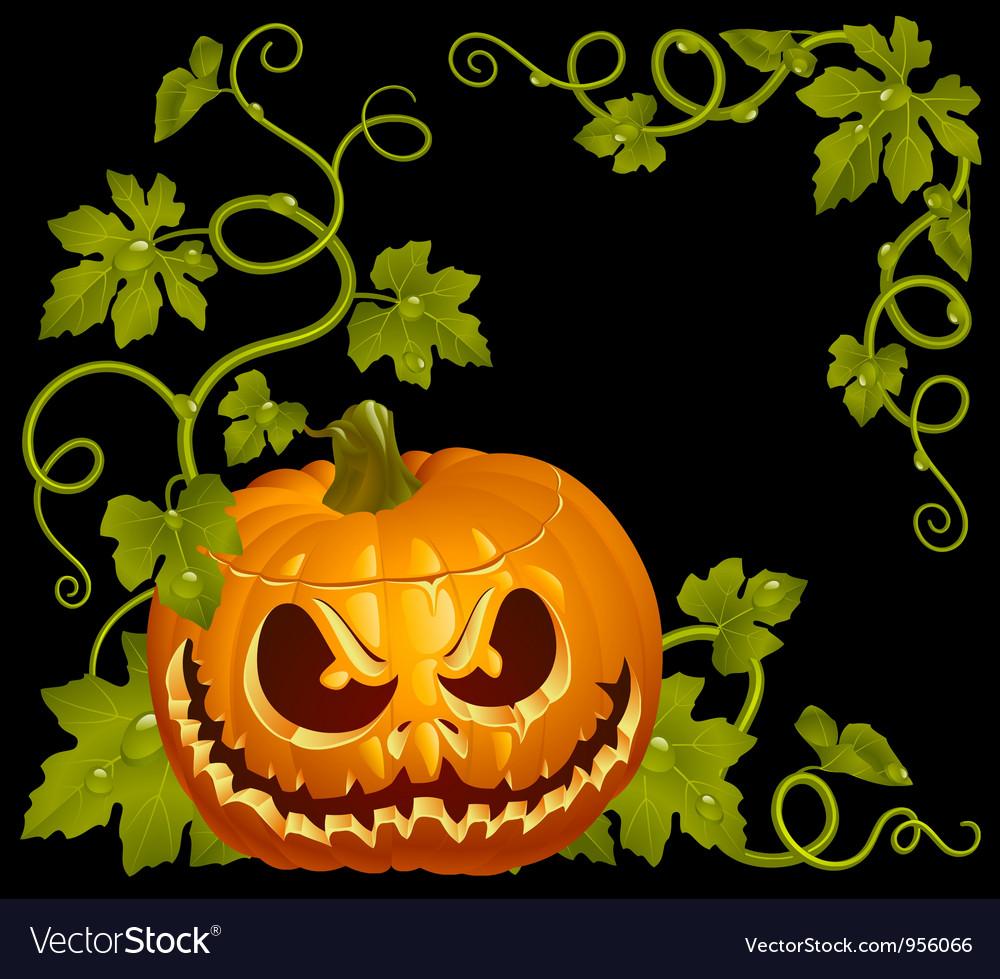 Pumpkin jack vintage corner isolated on black vector   Price: 3 Credit (USD $3)