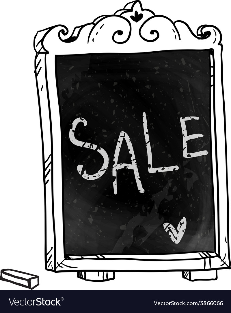 Sale announcement on a chalkboard vector | Price: 1 Credit (USD $1)
