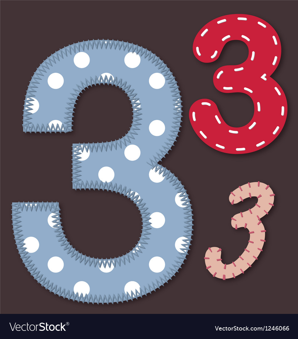 Set of stitched font - 3 three vector | Price: 1 Credit (USD $1)