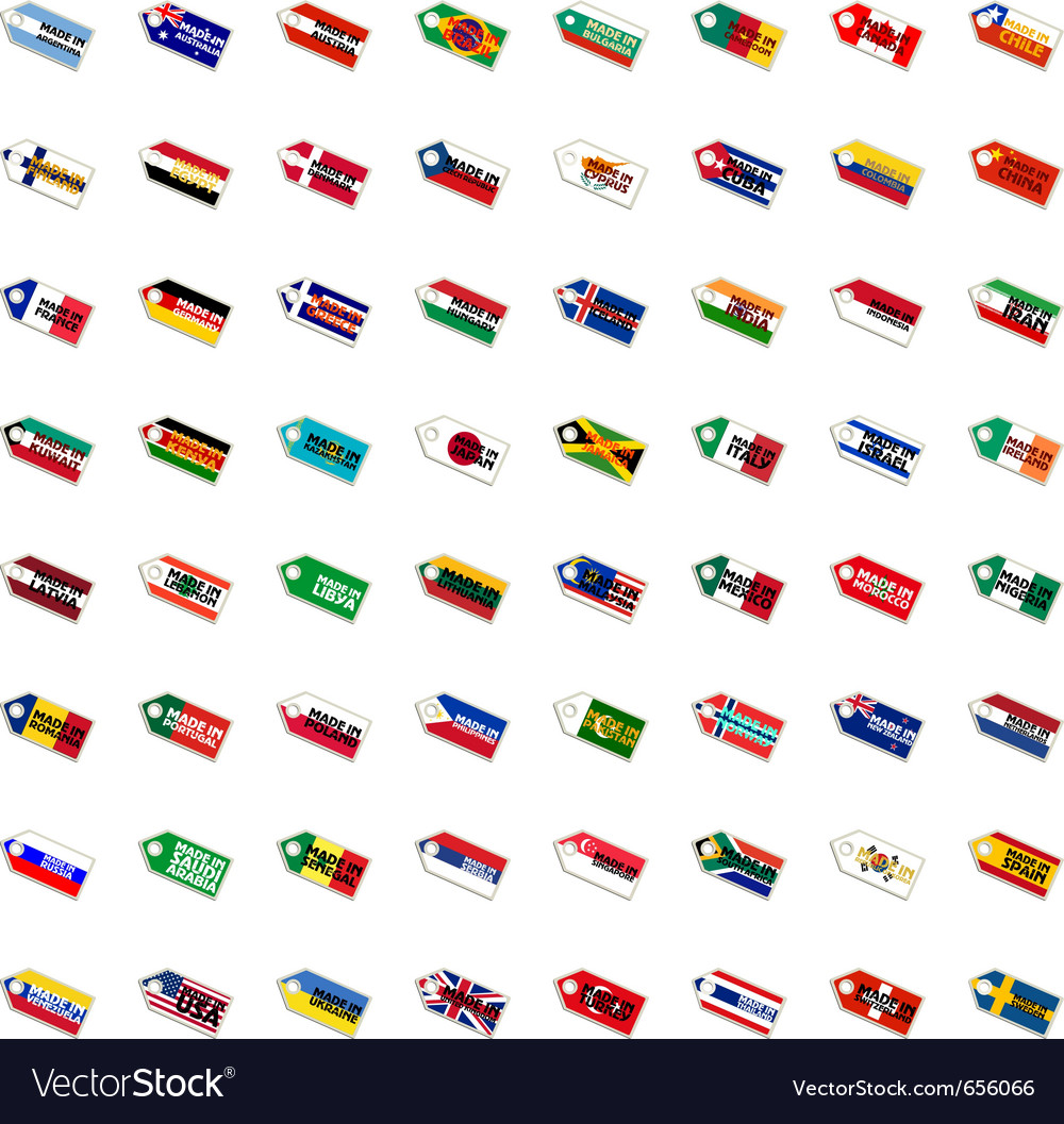 Set of the labels in national colors vector | Price: 1 Credit (USD $1)