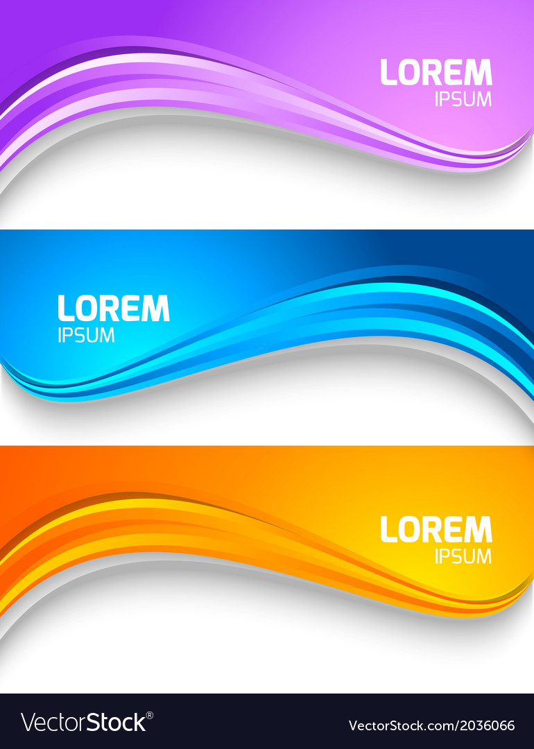 Set of wavy colorful banners vector | Price: 1 Credit (USD $1)