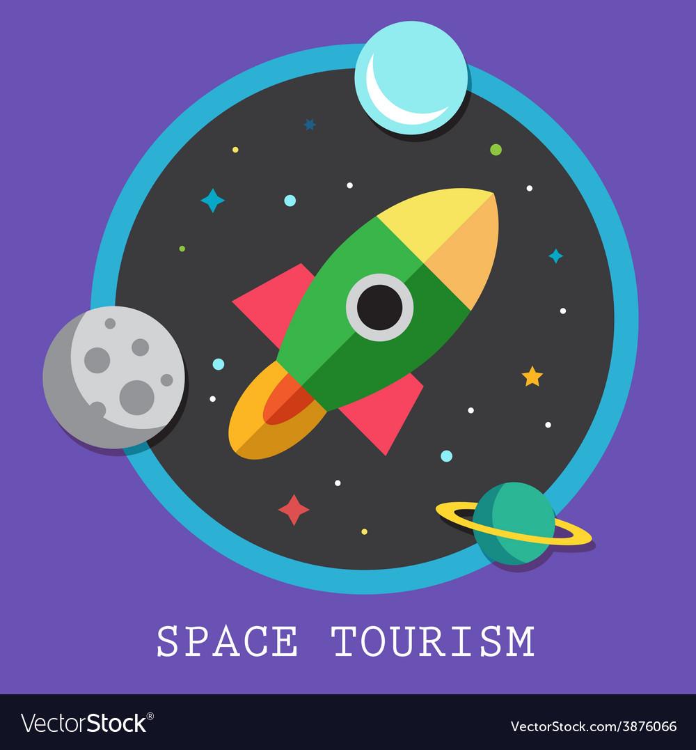Space tourism flat logos and icon vector | Price: 1 Credit (USD $1)