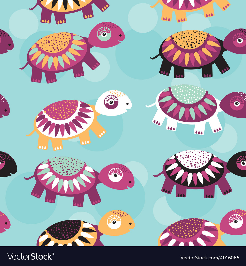 Turtle seamless pattern with funny cute animal on vector | Price: 1 Credit (USD $1)