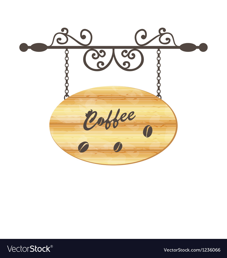 Wooden sign with coffee bean floral forging vector | Price: 1 Credit (USD $1)