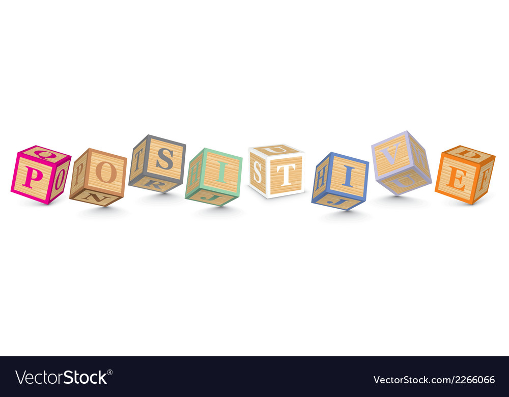 Word positive written with alphabet blocks vector | Price: 1 Credit (USD $1)