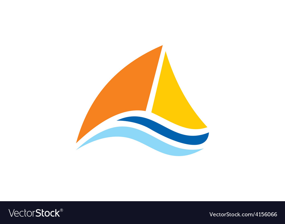 Yacht sailing boat ocean logo vector | Price: 1 Credit (USD $1)