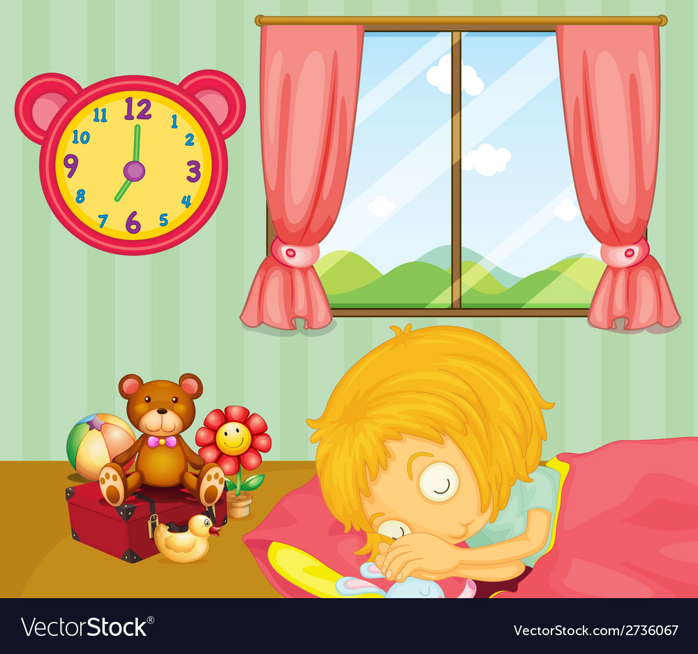 A young girl sleeping soundly in her bedroom vector | Price: 1 Credit (USD $1)