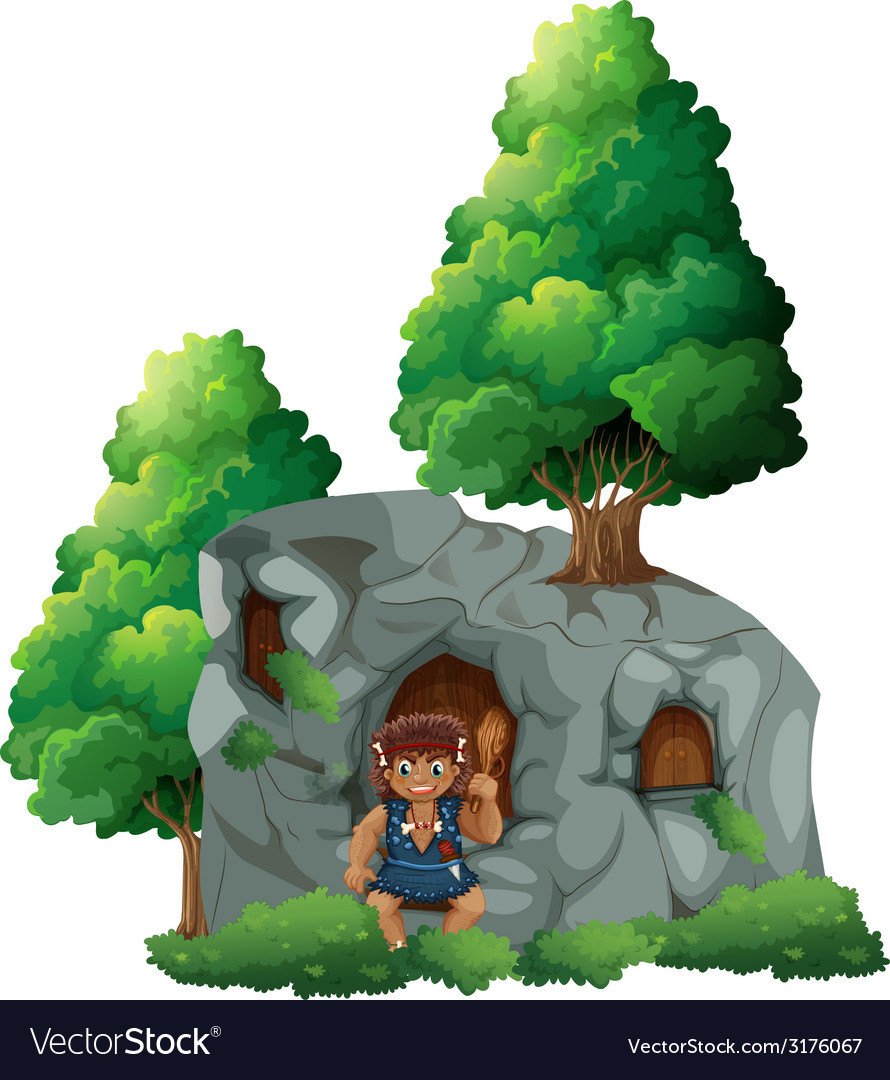 Caveman and a cave vector | Price: 3 Credit (USD $3)