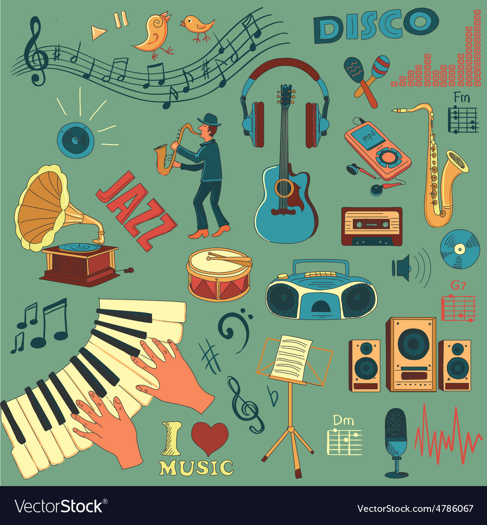 Colored hand draw music icon set vector | Price: 1 Credit (USD $1)