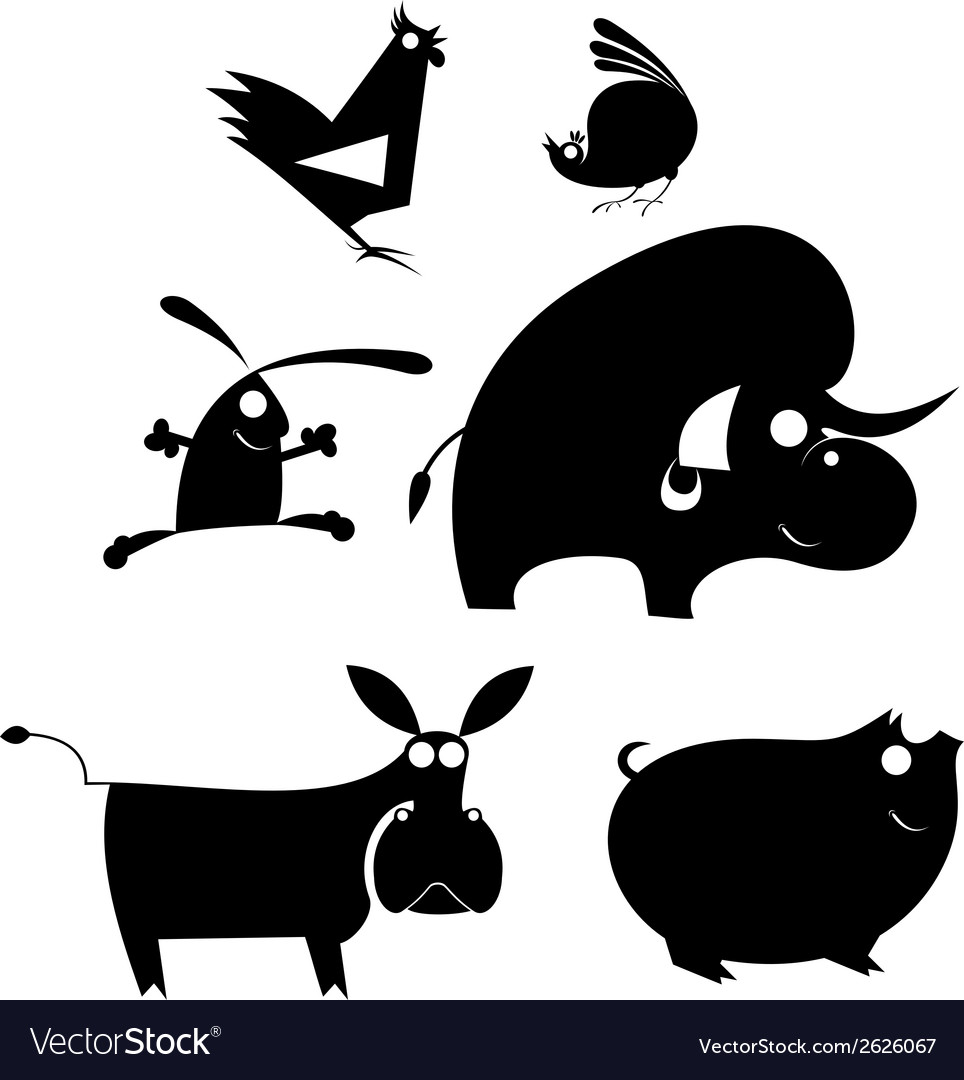Comic farm animal set vector | Price: 1 Credit (USD $1)
