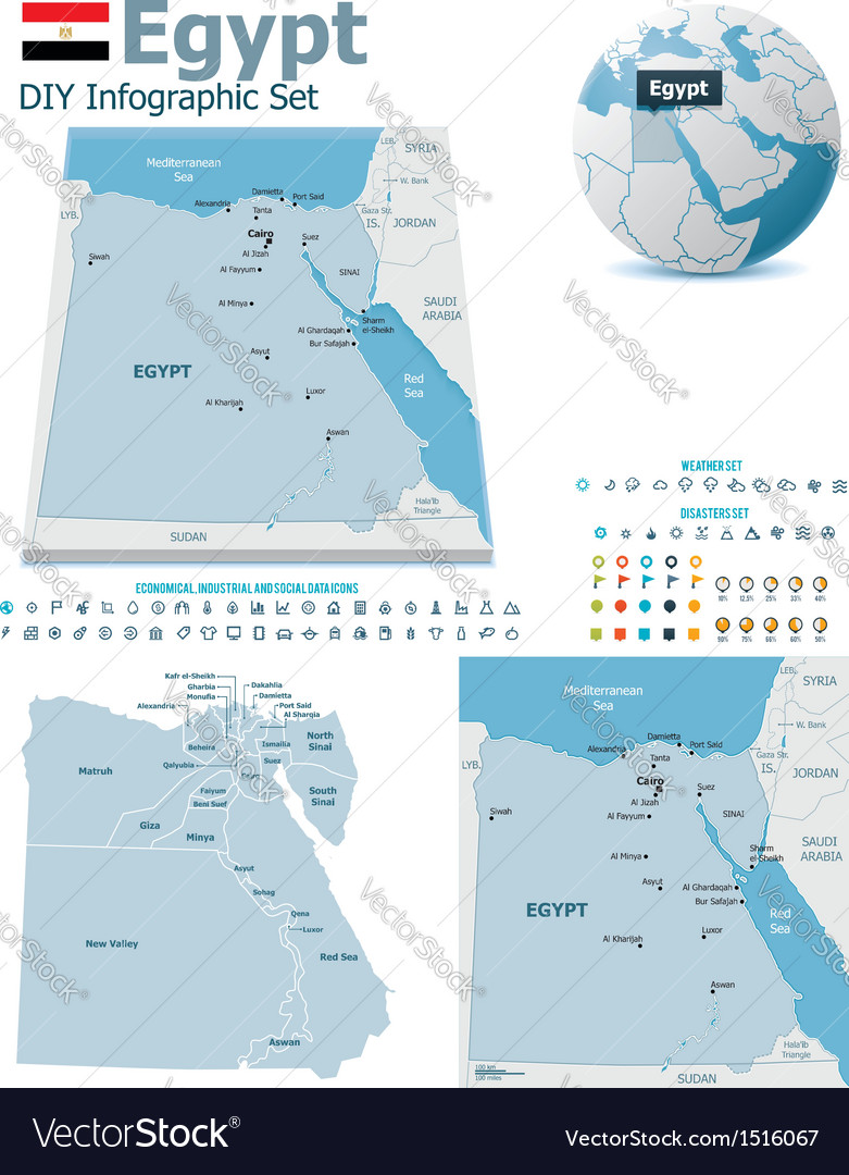 Egypt maps with markers vector | Price: 3 Credit (USD $3)