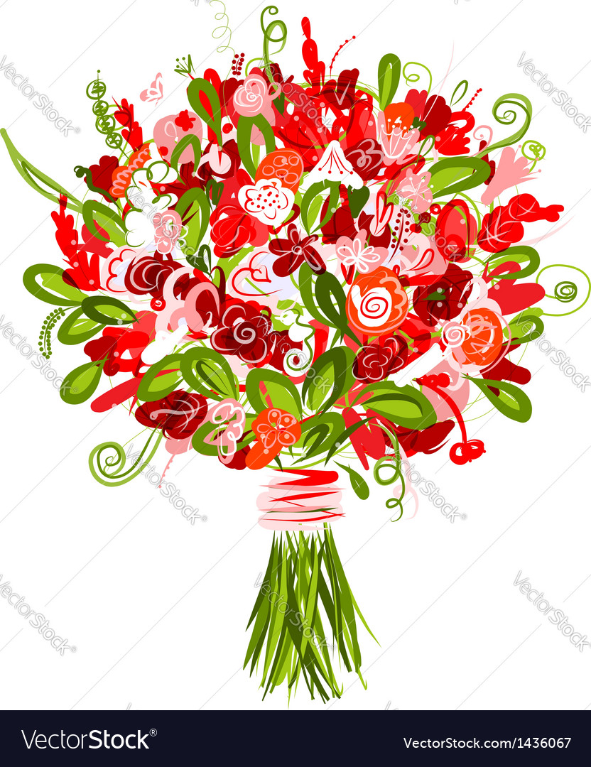 Floral bouquet for your design vector | Price: 1 Credit (USD $1)