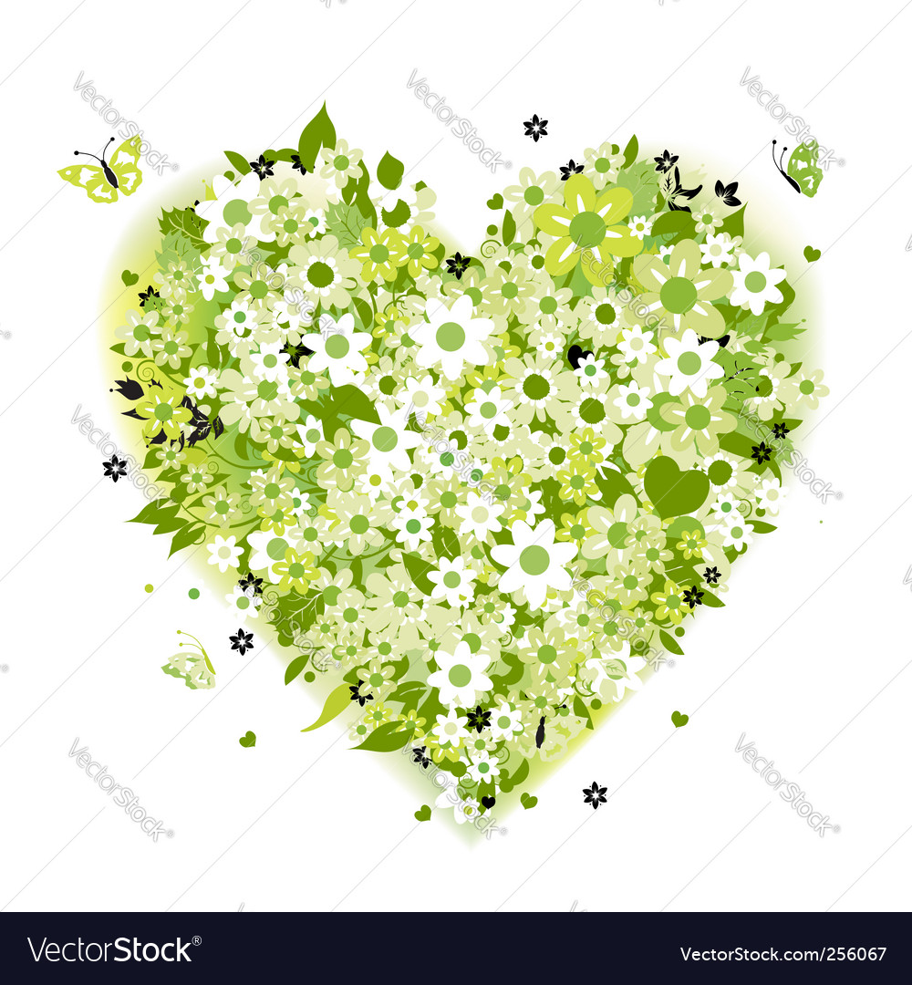 Floral heart shape summer green vector | Price: 1 Credit (USD $1)