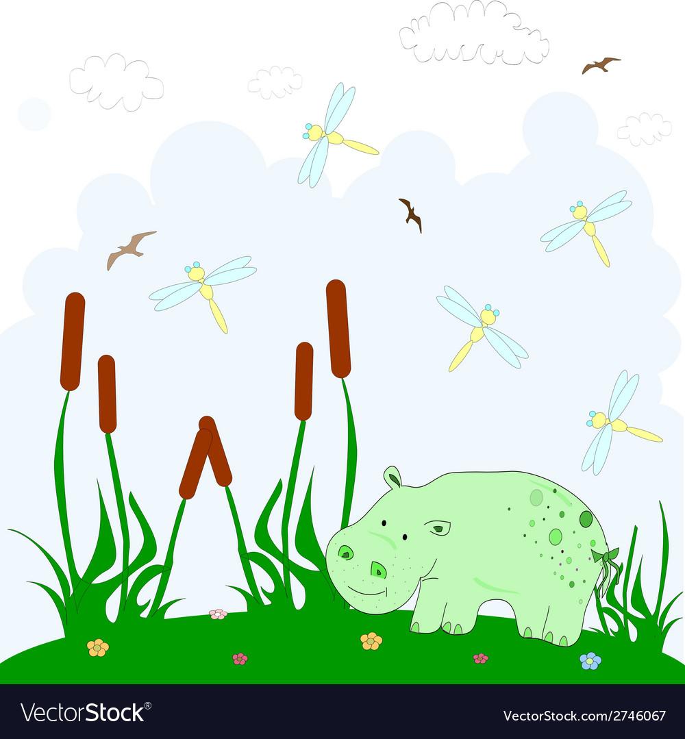 Hippopotamus cartoon character vector   Price: 1 Credit (USD $1)