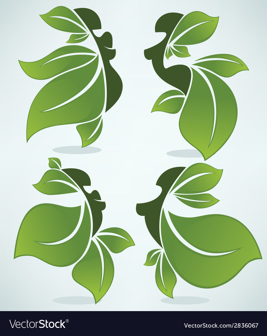 Leaves girls vector   Price: 1 Credit (USD $1)