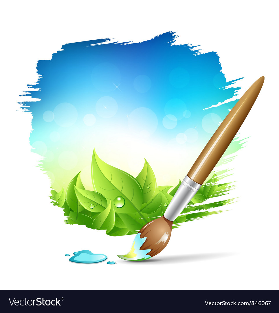Painting brush natural with blue sky background vector | Price: 3 Credit (USD $3)
