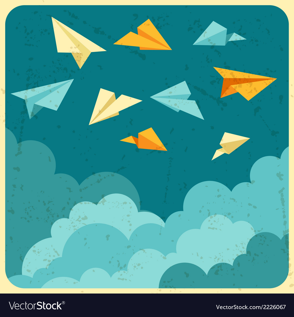 Paper planes on the sky with clouds vector | Price: 1 Credit (USD $1)