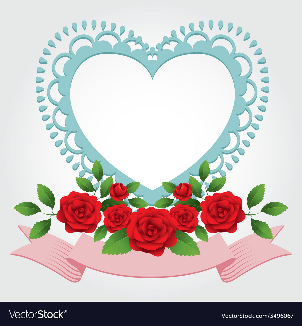 Red roses heart shape frame and border vector | Price: 1 Credit (USD $1)