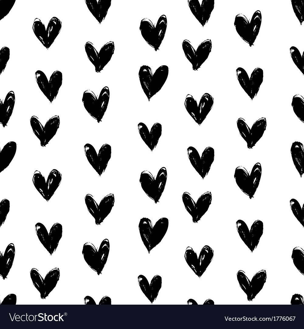Velentines day pattern with hand painted hearts vector | Price: 1 Credit (USD $1)