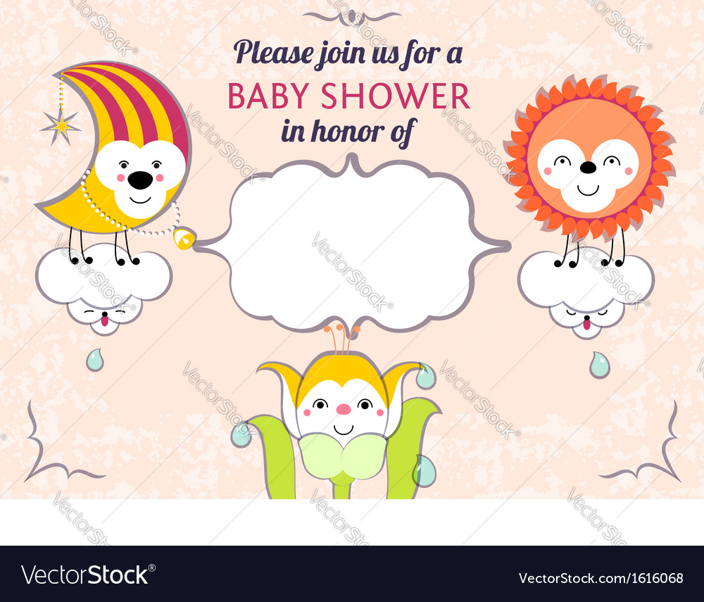 Baby shower invitation card editable template vector | Price: 1 Credit (USD $1)