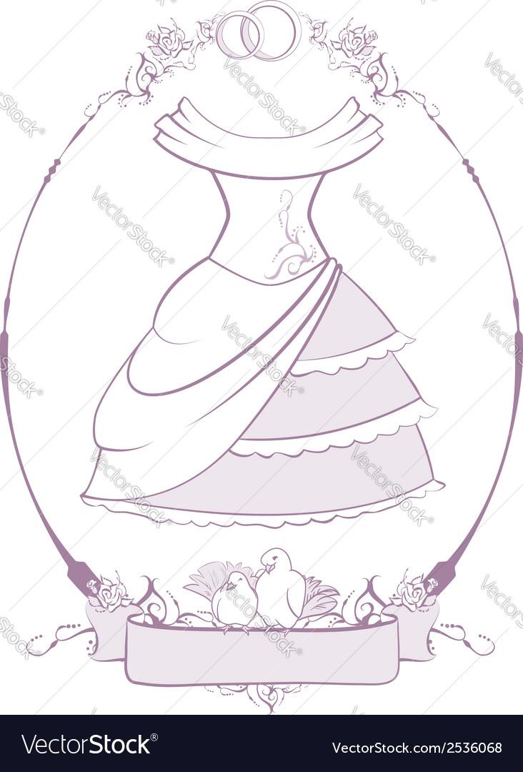 Bride wedding dress in frame vector | Price: 1 Credit (USD $1)
