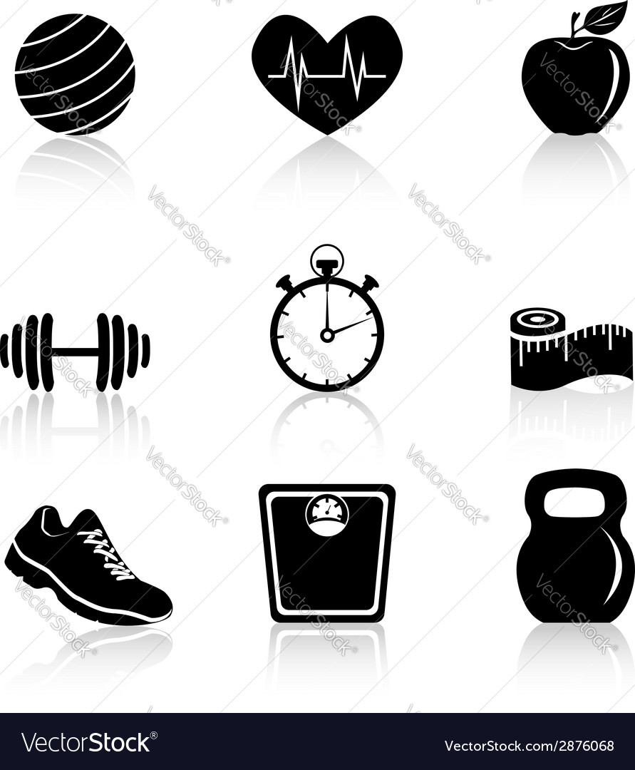 Fitness black icons vector | Price: 1 Credit (USD $1)