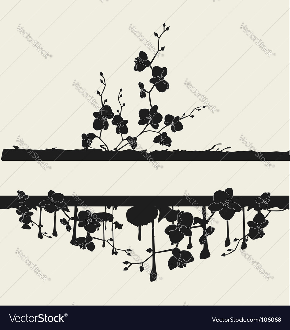 Frame with orchids vector | Price: 1 Credit (USD $1)
