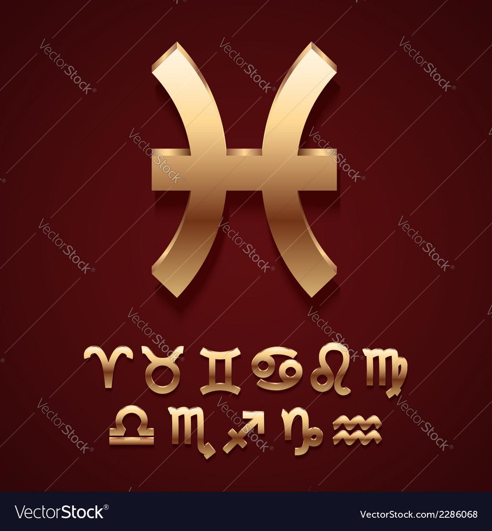 Golden zodiac symbol icons vector | Price: 1 Credit (USD $1)