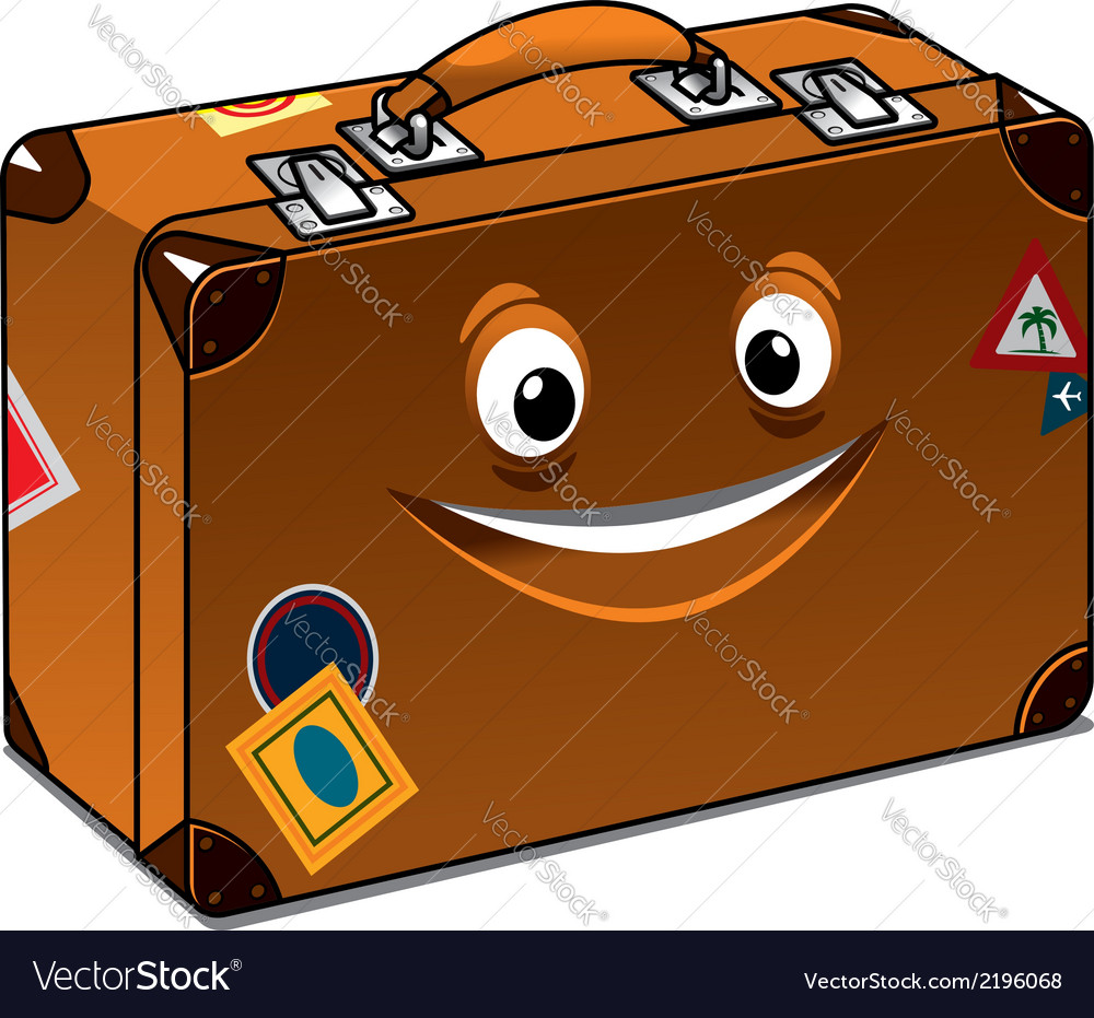 Happy travel brown leather suitcase vector | Price: 1 Credit (USD $1)