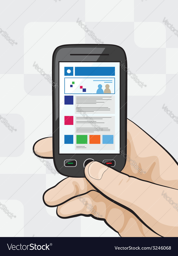 Smartphone with mobile website vector | Price: 1 Credit (USD $1)