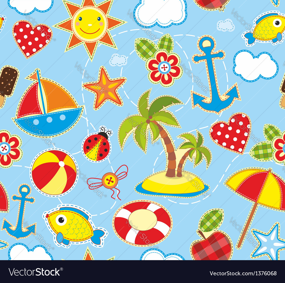 Summer seamless background vector | Price: 3 Credit (USD $3)