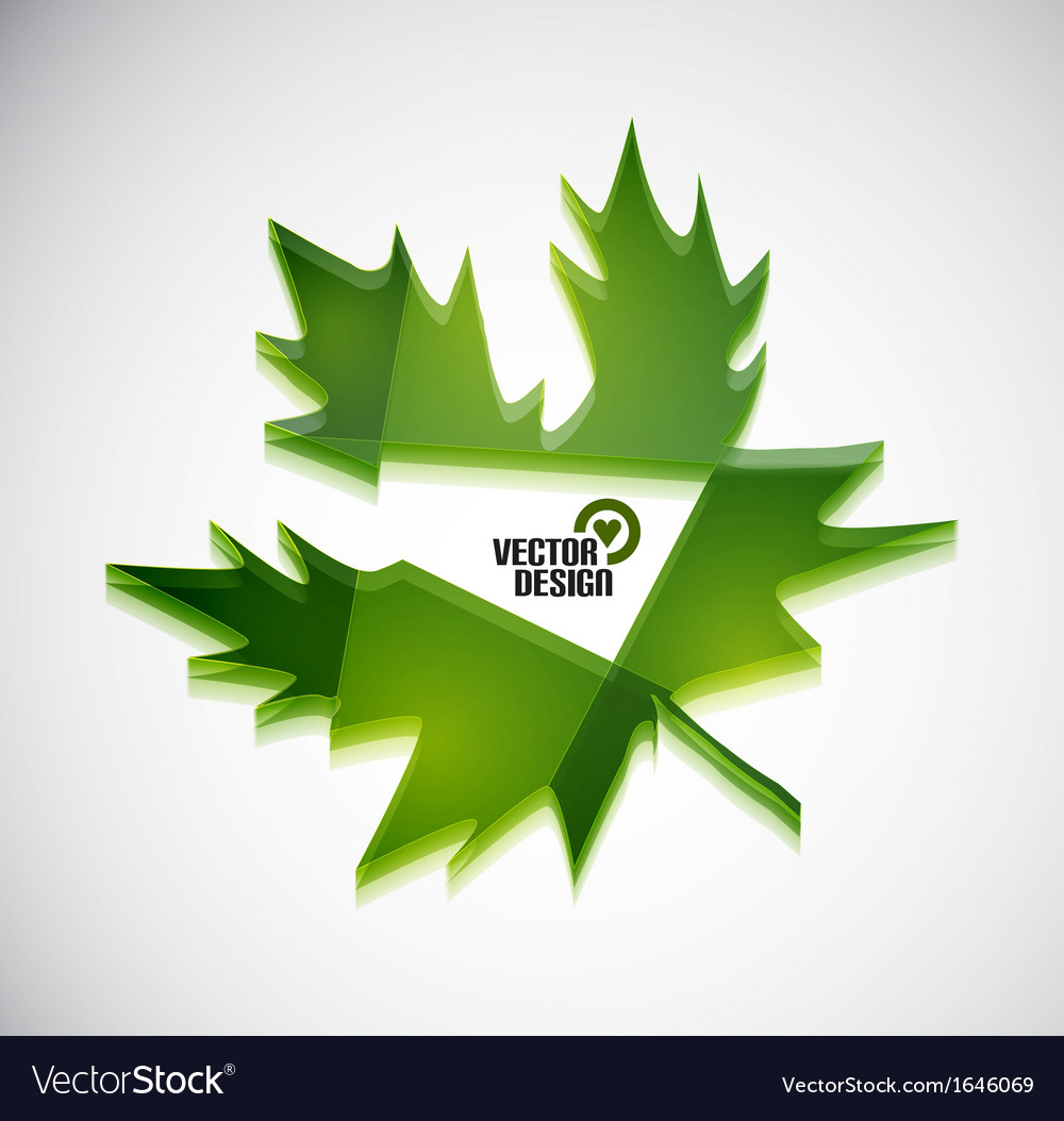 3d green glossy leaf vector | Price: 1 Credit (USD $1)
