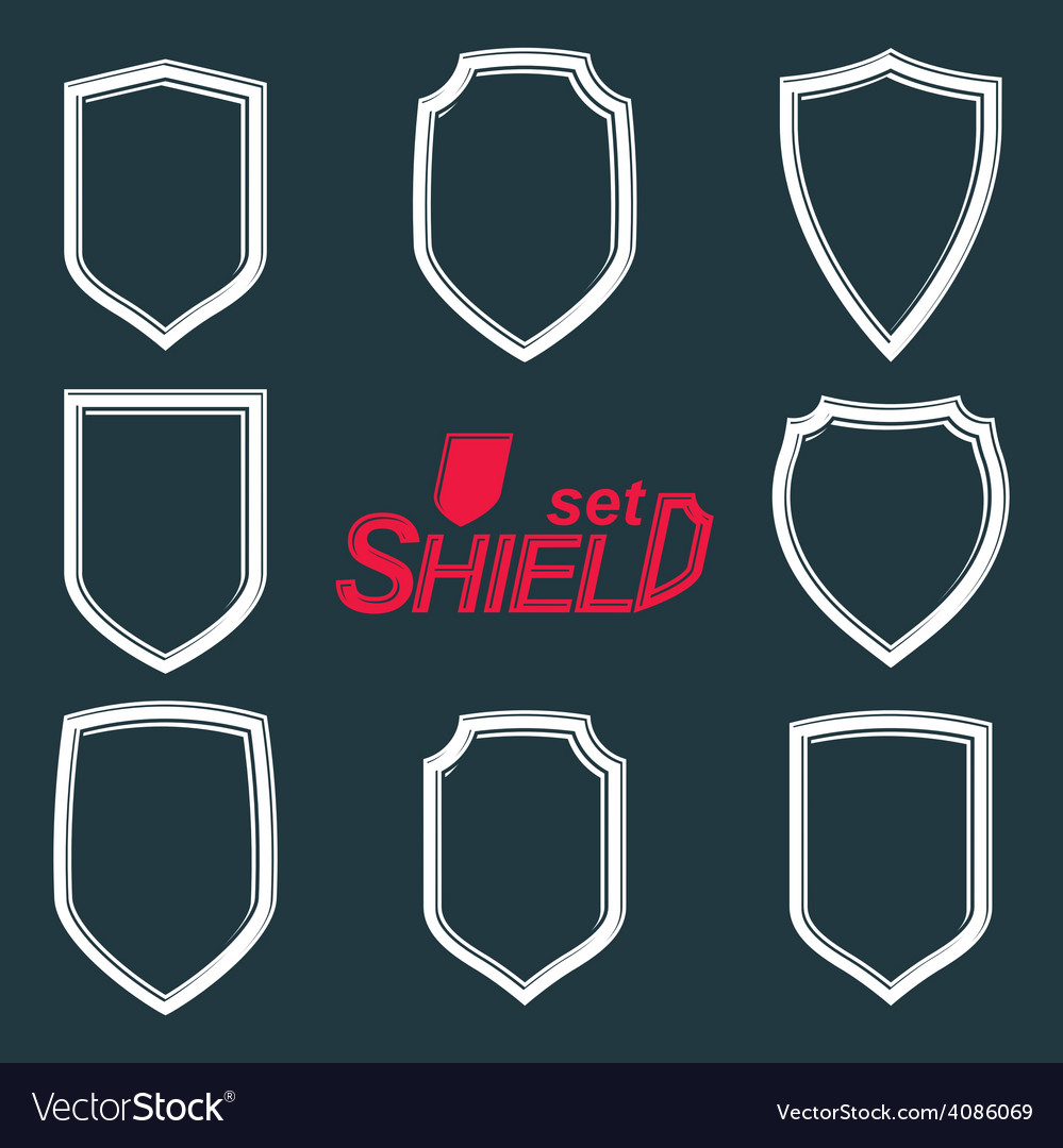 Collection of grayscale defence shields protection vector | Price: 1 Credit (USD $1)