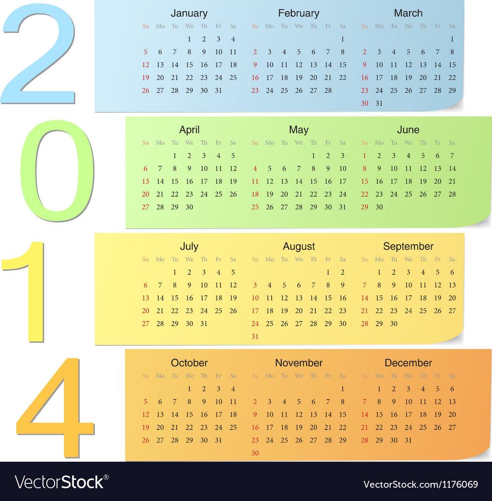 Color calendar 2014 vector | Price: 1 Credit (USD $1)