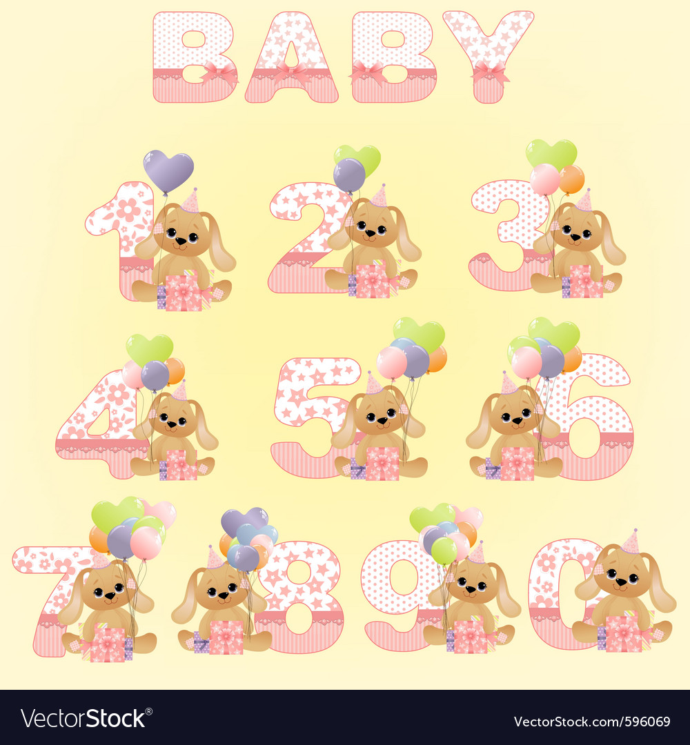 Cute baby birthday digits vector | Price: 3 Credit (USD $3)