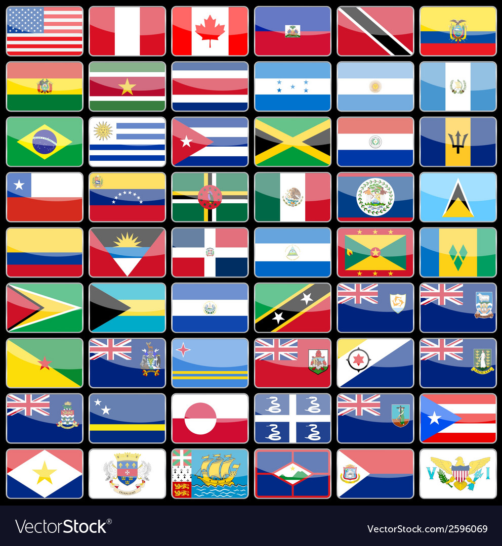Elements of design icons flags of the continent of vector | Price: 1 Credit (USD $1)
