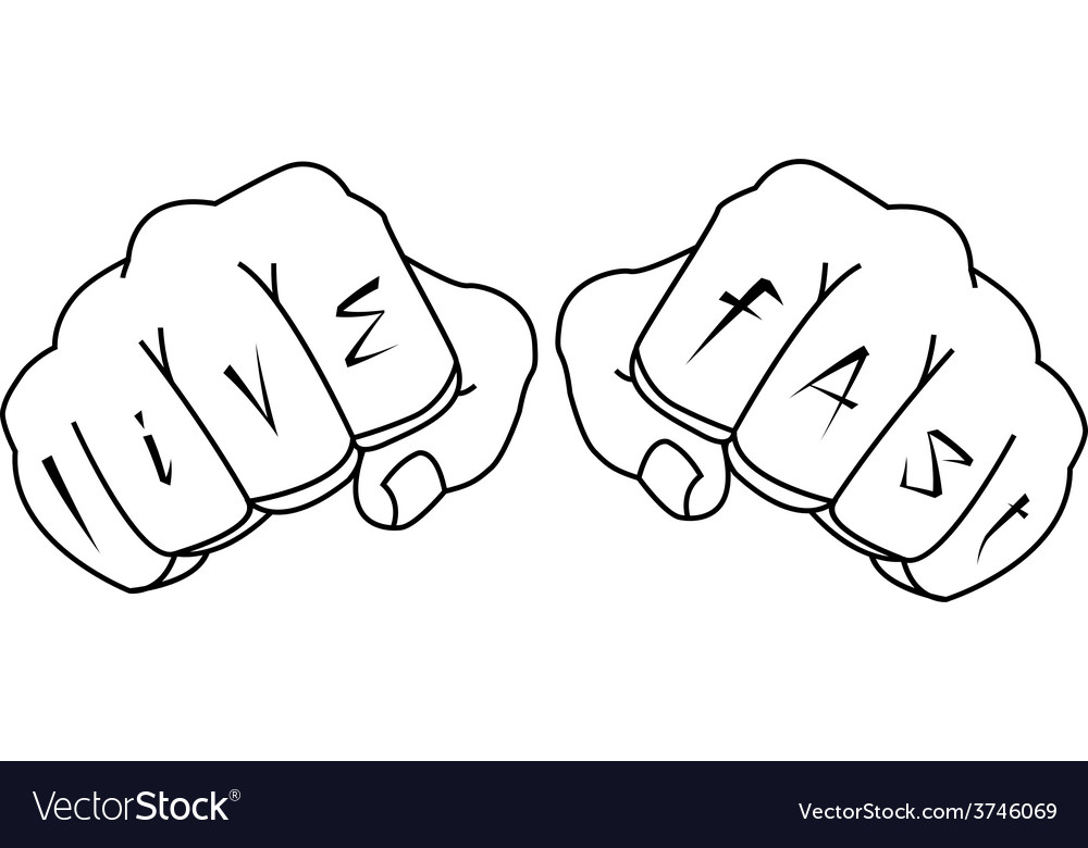 Fists with live fast fingers tattoo contour vector | Price: 1 Credit (USD $1)