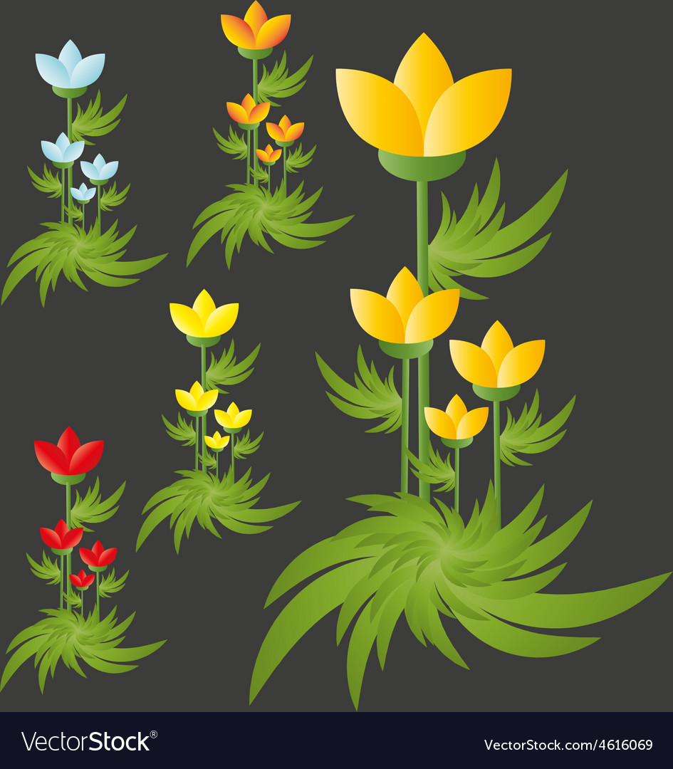 Flowers group isolated vector | Price: 1 Credit (USD $1)