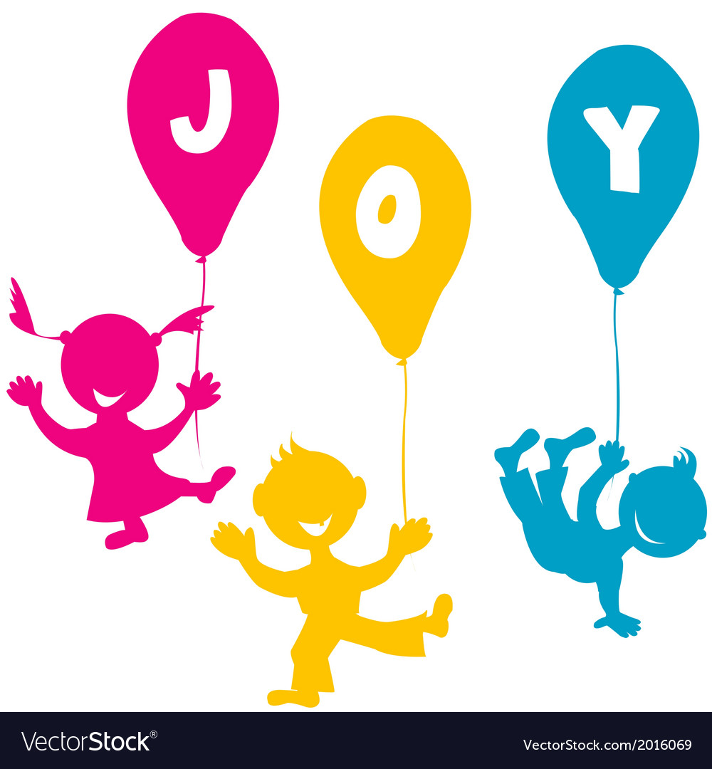 Hand made children with balloons vector | Price: 1 Credit (USD $1)