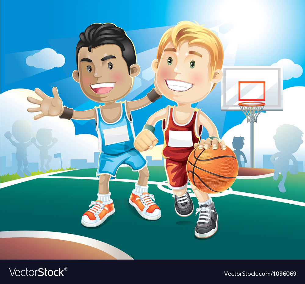 Kids playing basketball vector | Price: 3 Credit (USD $3)