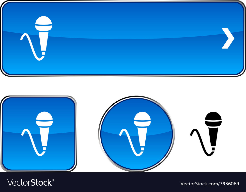 Mic button set vector | Price: 1 Credit (USD $1)