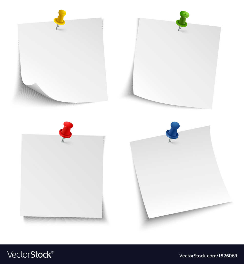 Note paper with push colored pin vector | Price: 1 Credit (USD $1)