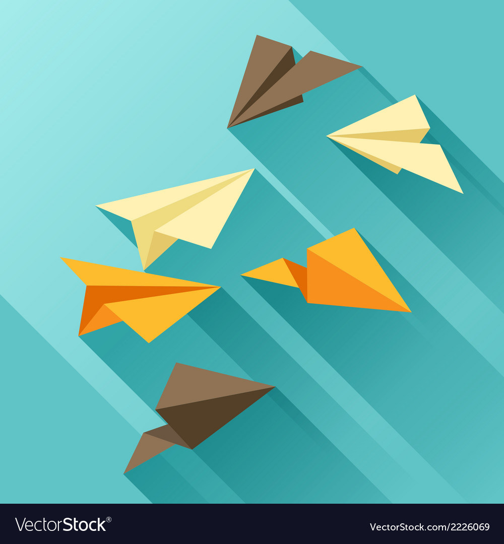 Paper planes in flat design style vector | Price: 1 Credit (USD $1)