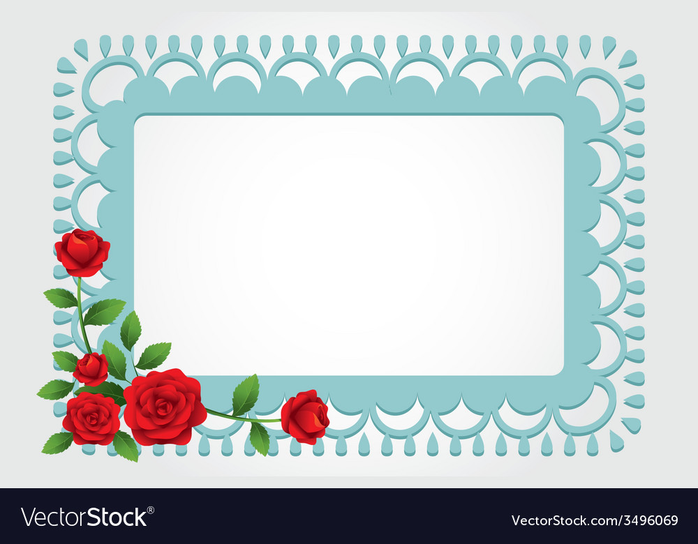 Red roses square shape frame and border vector | Price: 1 Credit (USD $1)