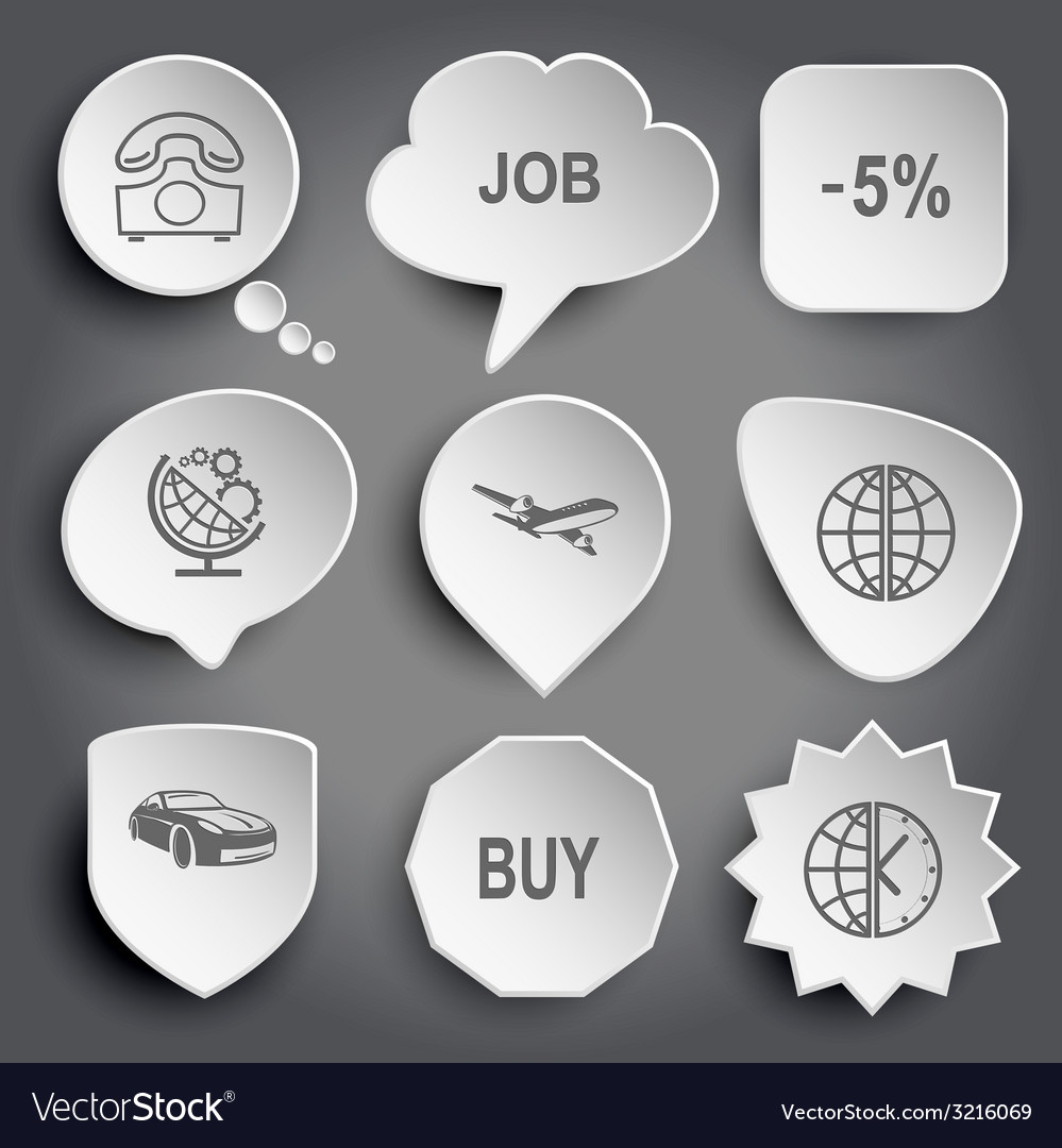 Rotary phone job -5 globe and gears airliner car vector | Price: 1 Credit (USD $1)