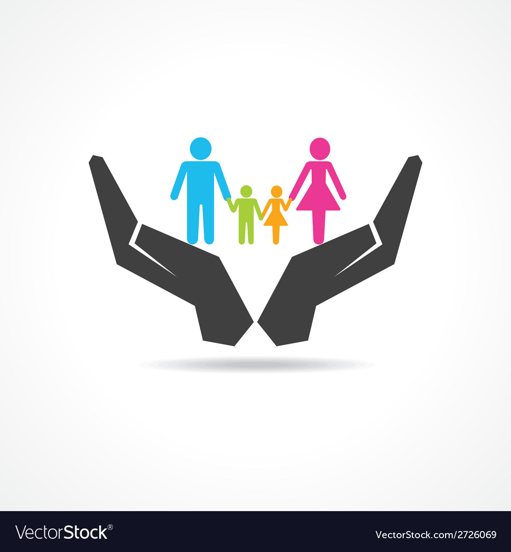 Secure or save family under hand concept vector | Price: 1 Credit (USD $1)