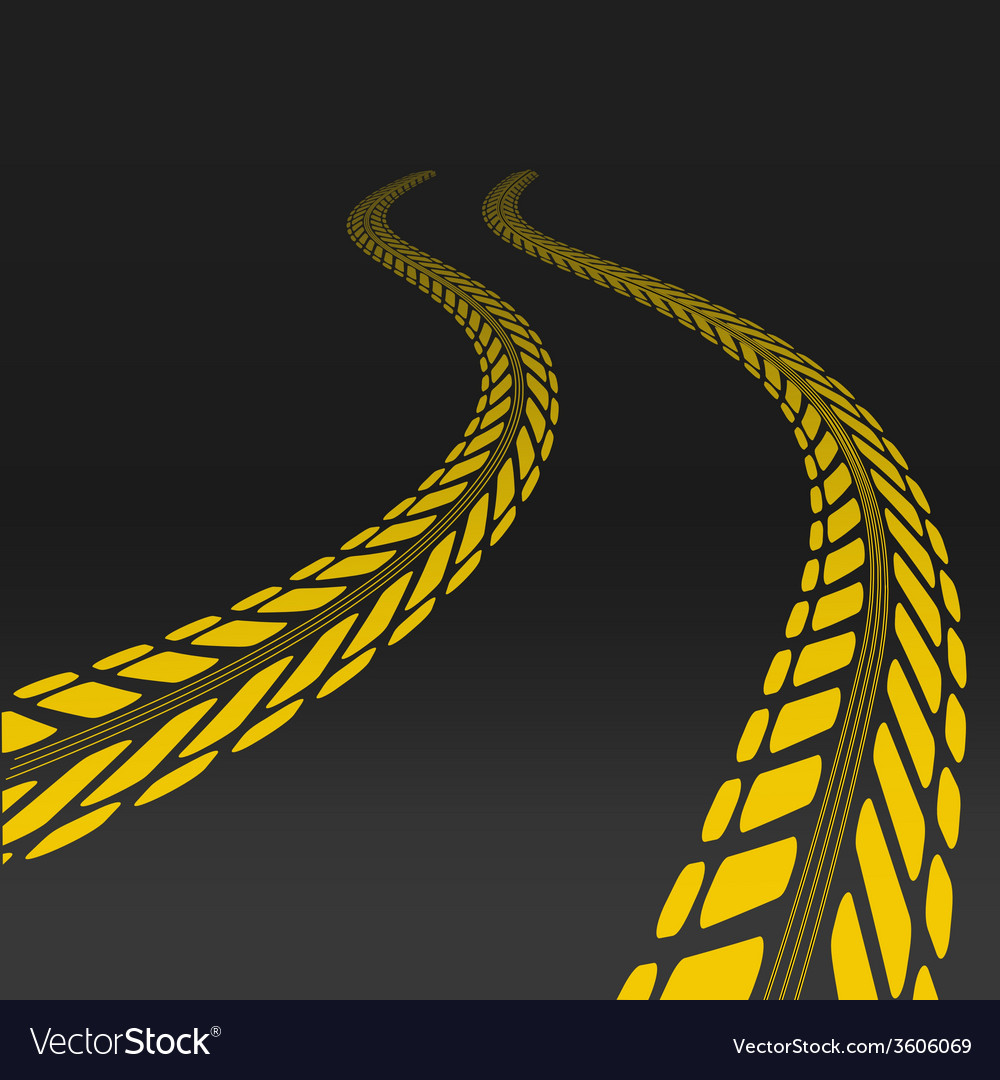 Tire track with perspective and template for tire vector | Price: 1 Credit (USD $1)
